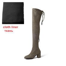 WETKISS Nieuwste Model Dame Over de Knie Laars Rits Stretch Stof Lange Boot Dikke Hoge Hak Vrouw Schoenen Winter Grote maat 43(China)