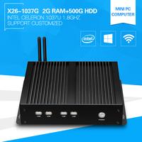 1080P Slim Desktop Computer Celeron 1037U 1.8GHz Dual core 2*Lan Fanless Mini PC 2G Ram 500G HDD Support Wireless mouse keyboard