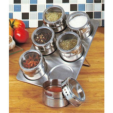 Hot Sale 6 Pcs Stainless Steel Magnetic Salt shaker salt Pepper Set spice Cruet Condiment Box Cooking Seasoning Bottle Tools(China (Mainland))
