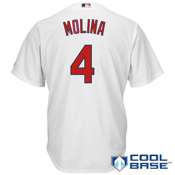 Yadier Molina St. Louis Cardinals Majestic Cool Base Player Jersey - White Baseball Jersey(China (Mainland))