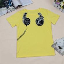 Hot Sale New 2017 Headphone Design T shirt Boys Kids Short Sleeve Tops T-shirt Tees 100%Cotton(China (Mainland))