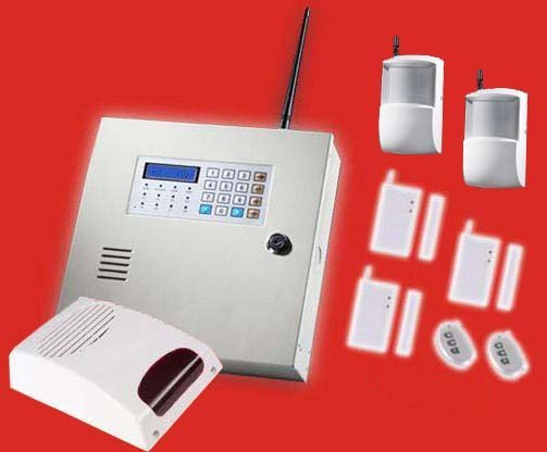 Alarm System with 5 wireless sensors and siren | LCD 8 wireless & 8 wired prevention alarm panel | wholesale & retail alarms