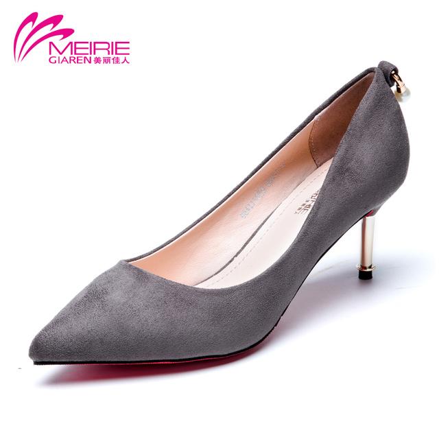 Aokang MeiRie 2016 новое поступление женщин красный нижние туфли на каблуках бренда ...