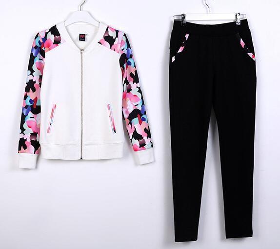 2016 New Print Hoodies Women Casual Sweatshirt Tracksuit Feminino Two Piece Set Women's Clothing