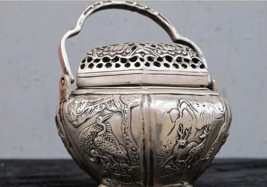 "5""Chinese Hand Made Silver Copper Crane & Deer & Bird ancient warm hand warmer(China (Mainland))"