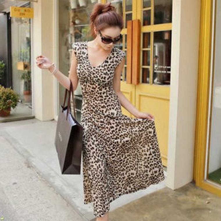 Wholesale Silk Dress Plus Size Women Maxi Long Summer Leopard Dress 2016 Chiffon V Neck Casual Sexy Beach Bohemian Dress RE757(China (Mainland))
