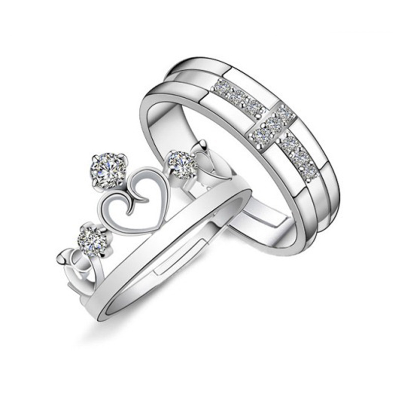 1 Pair Platinum Plated Ring Jewelry Engagement Love Crown Cross Zircon Wedding Lovers Couple Rings for Women Men JJAL R103(China (Mainland))