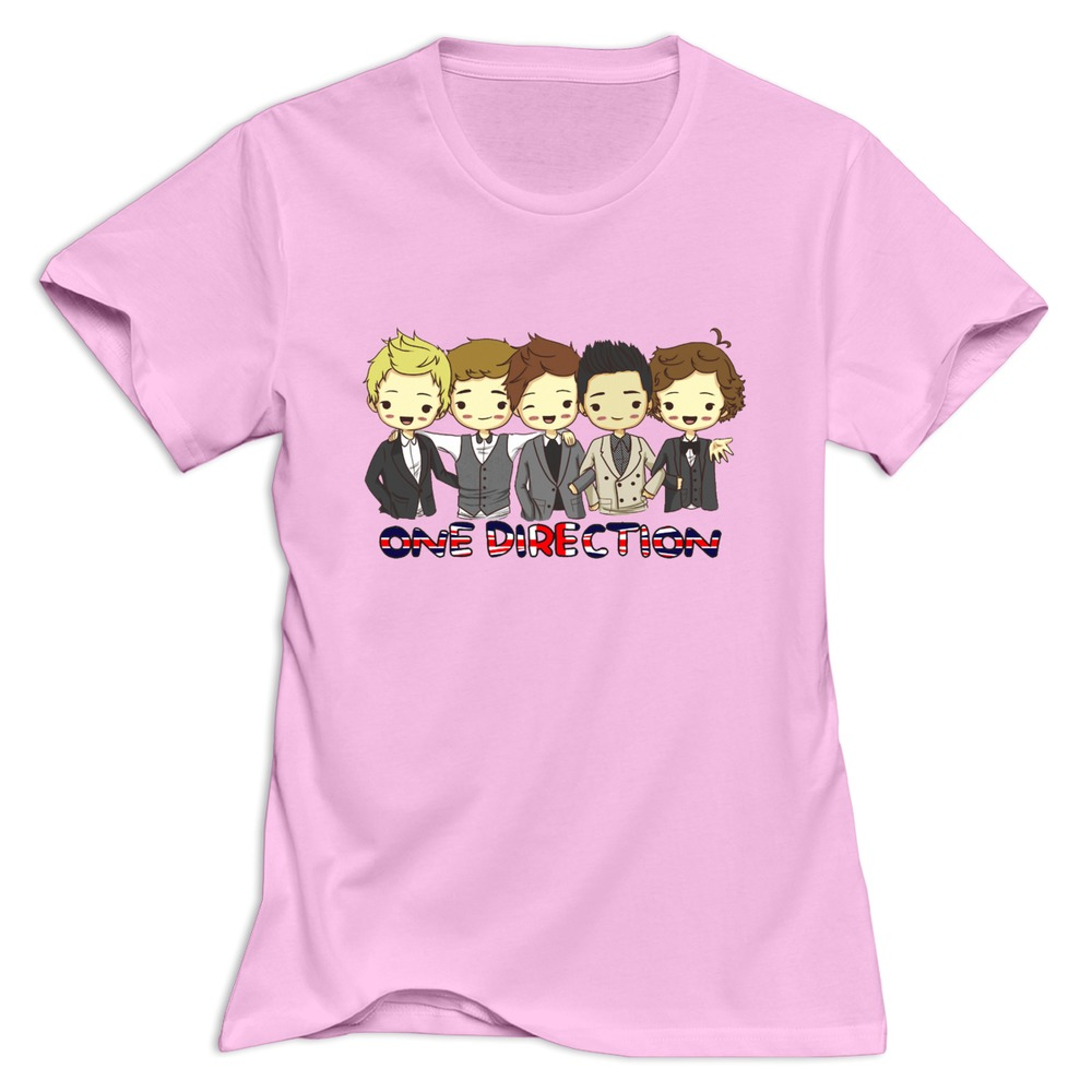 Women 39 s t shirt one direction band cartoon short sleeve for Band t shirt designs for sale