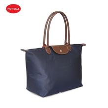 brand ladies nylon long designer shopping tote bags female PU handle Folding handbag women shoulder bags french Champagnes