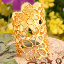 Fashion Jewelry Women Men Hollow out Flower Alloy Opening Ring Black and Golden 00U4