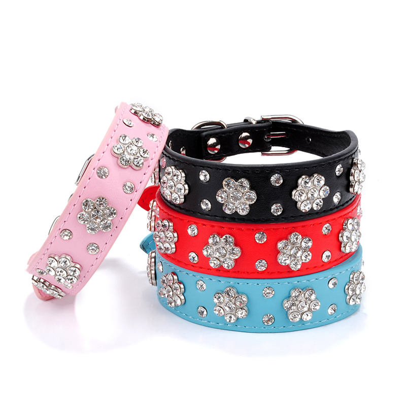 Bling Rhinestone Flowers Pet Dog Collars Small Pet Cat Puppy PU Leather Collar Necklace Buckle Dog Led Collar Pet Accessories(China (Mainland))