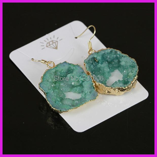 Здесь можно купить  5pcs/lot Hot Selling Green Crystal Geode Druzy Earrings,Big Hole Quartz Gem stone Drusy 18K Gold Plated Earrings Sexy Jewelry  Ювелирные изделия и часы