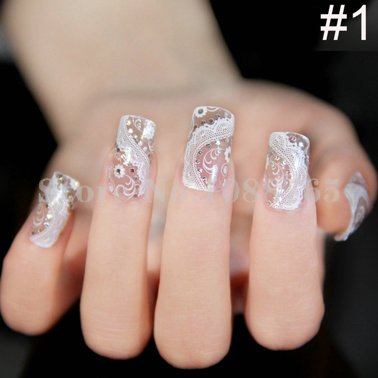 2014 Full Decal Wraps 3D Self Adhesive Glue Lace Nail Stickers Rhinestone Decal 10 sheets/lot Free Shipping(China (Mainland))
