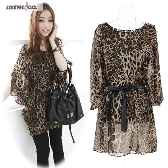 Womdee Women Sexy Leopard Print Fashion Belted Chiffon Tunic Dress Shirt Top Chiffon Blouse Femininas Blusas Streetwear Style(China (Mainland))