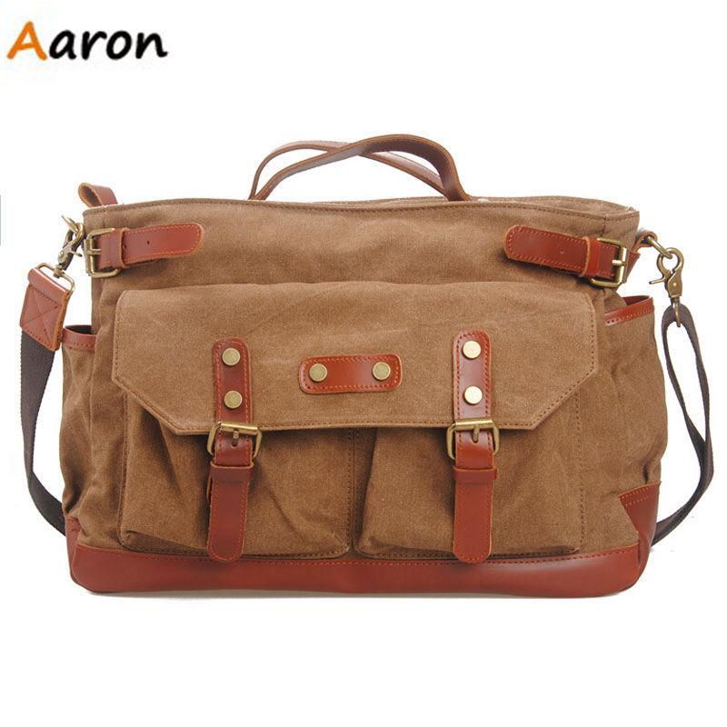 Aaron-Designer Inspired Handbags For Men,Fashion Canvas&Real Leather Big Laptop Handbags,Belt decoration Multifunctional Men Bag(China (Mainland))