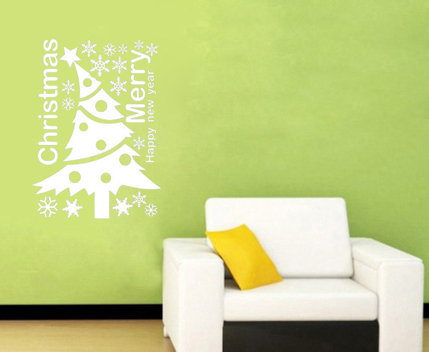 Merry Christmas Decorative Tree Wall Decal With Star Vinyl Removable DIY Waterproof Home Decor Wall Sticker Quotes(China (Mainland))