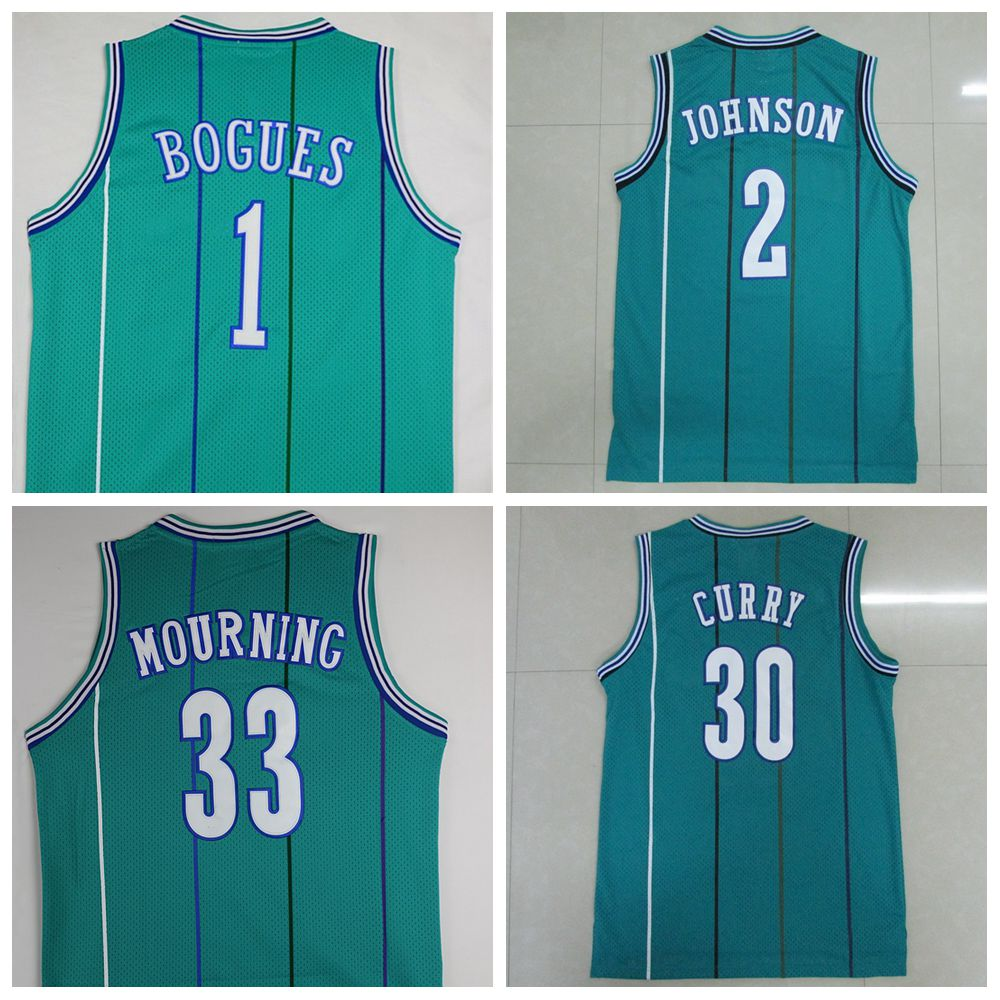 #1 Muggsy Bogues #2 Larry Johnson #33 Alonzo Mourning #30 Dell Curry Throwback Green Jersey, Throwback Retro Basketball Jersey(China (Mainland))
