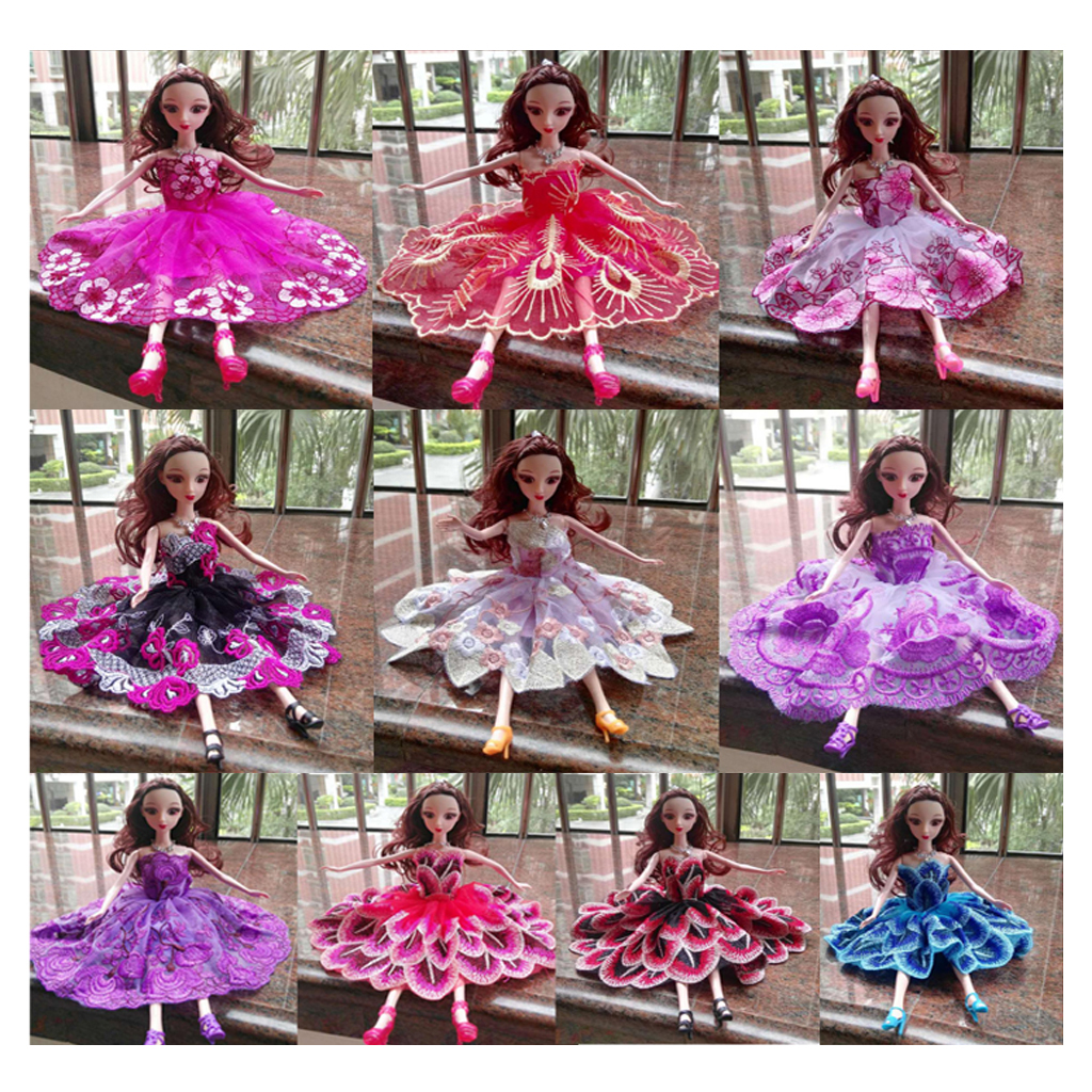 Lovely 10Pcs 17cm Strapless Embroidered Skirt Dress Gown Clothes Outfit for Barbie Momoko Girl Doll Make Up Dolls Accessories(China (Mainland))