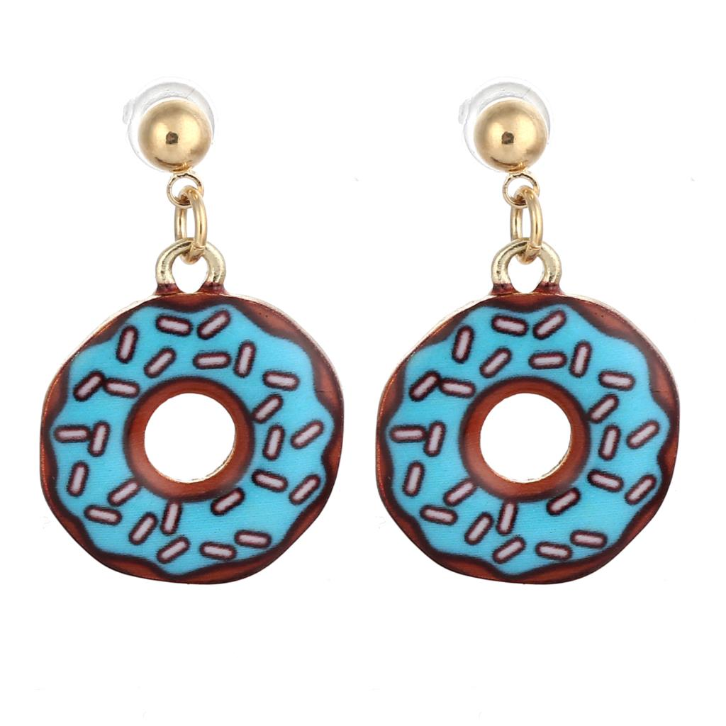 Candy Color Earirngs Fashion Jewelry with Gold Plated Donuts Shaped Drop Dangle Earring for Women Party2016(China (Mainland))