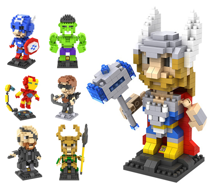 LOZ Avengers Figure Nano Blocks Super Heroes Ironman Thor Loki Captain Deadpool Minifiugre Model Diamond Building Brick Toy(China (Mainland))