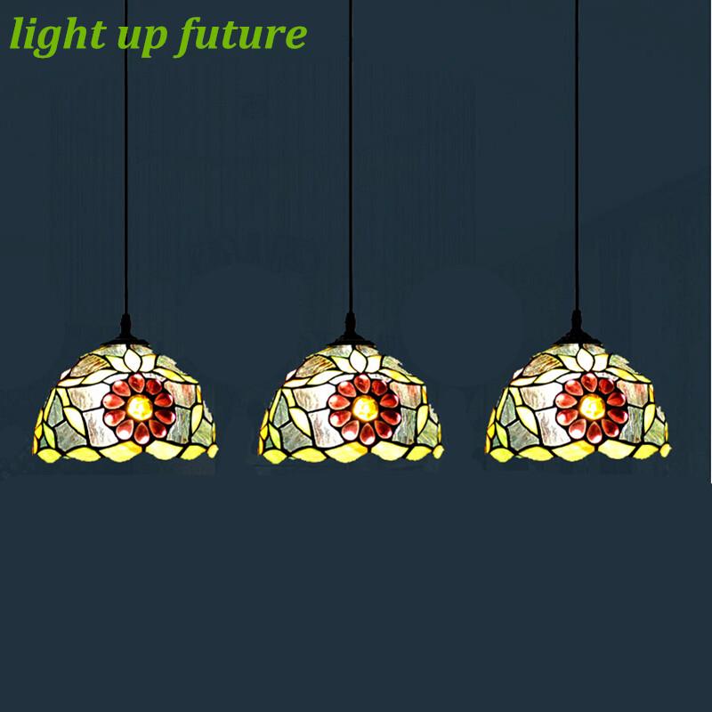 Vintage Handmade Tiffany Glass Led E27 Pendant Lights for Dining Room Bar Restaurant Dia 20cm 1/3 heads Green Pendant Lamps 2090<br><br>Aliexpress