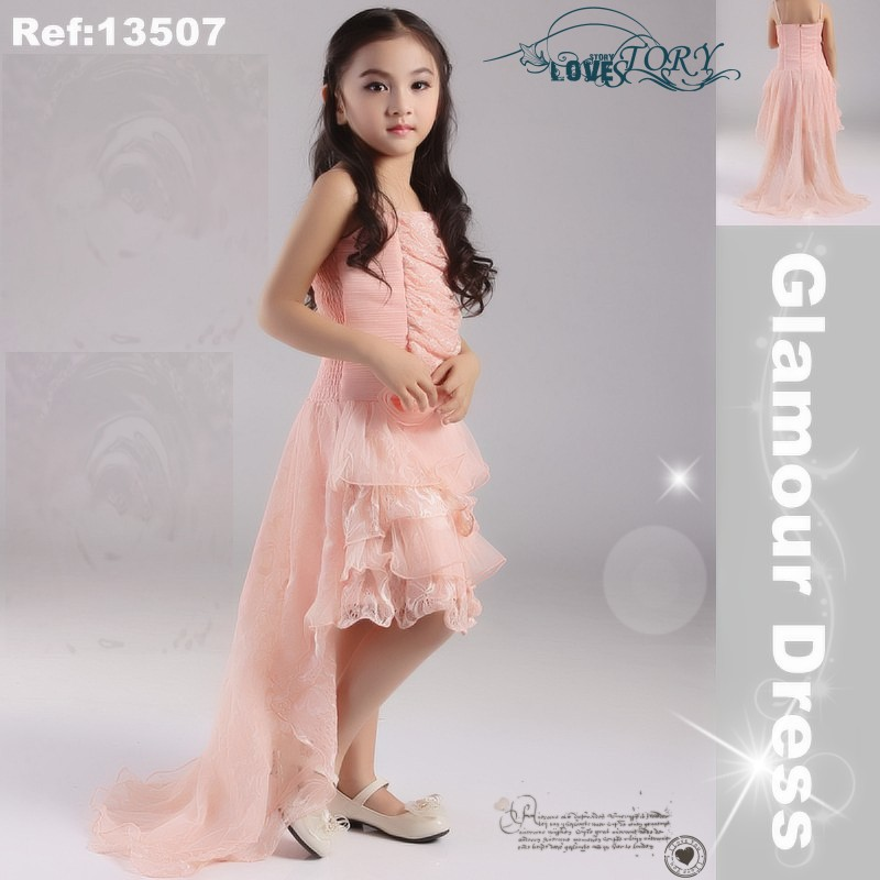 Hot Sale Fashion Lace Girl Dress 2015 New Peach Flower Girl Dresses With Long Train Festa Dresses Child China Dress Factory Sale(China (Mainland))