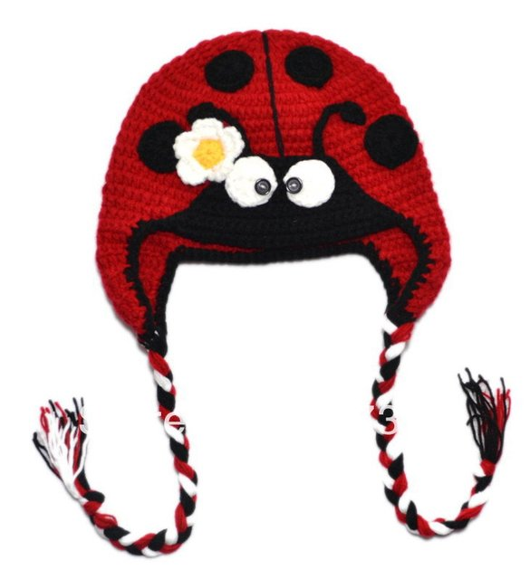 Free shipping New Handmade Baby Cap Fashion Crochet Baby Caps Baby Knitted Caps Lovely Insect style Embroidery Hat