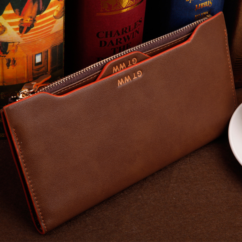 2015 famous brand Genuine leather men zipper long wallet chain cow leather male purse with coin