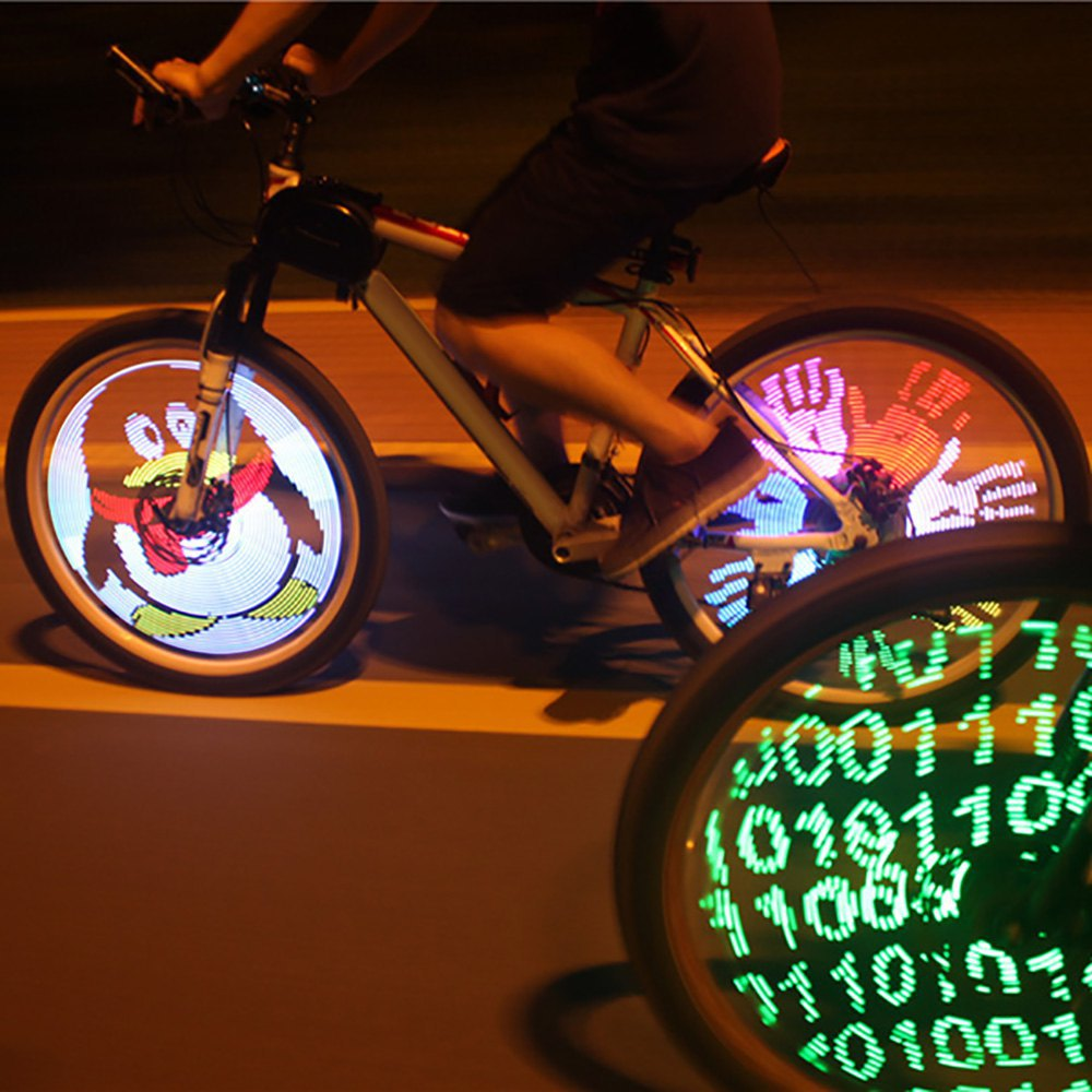 YQ8003 Fantastic DIY Programmable Bicycle Spoke Bike Wheel LED Light Double Sided Screen Display Image for Night Cycling(China (Mainland))