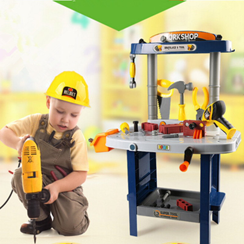 New Arrival Multi-tool maintenance station chair stool educational toys children play house Toolbox disassembly boy