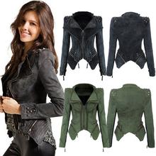 2016 Fashion Army green/Gray jeans jackets women oversized denim jacket punk chaquetas  vintage Rivet coats