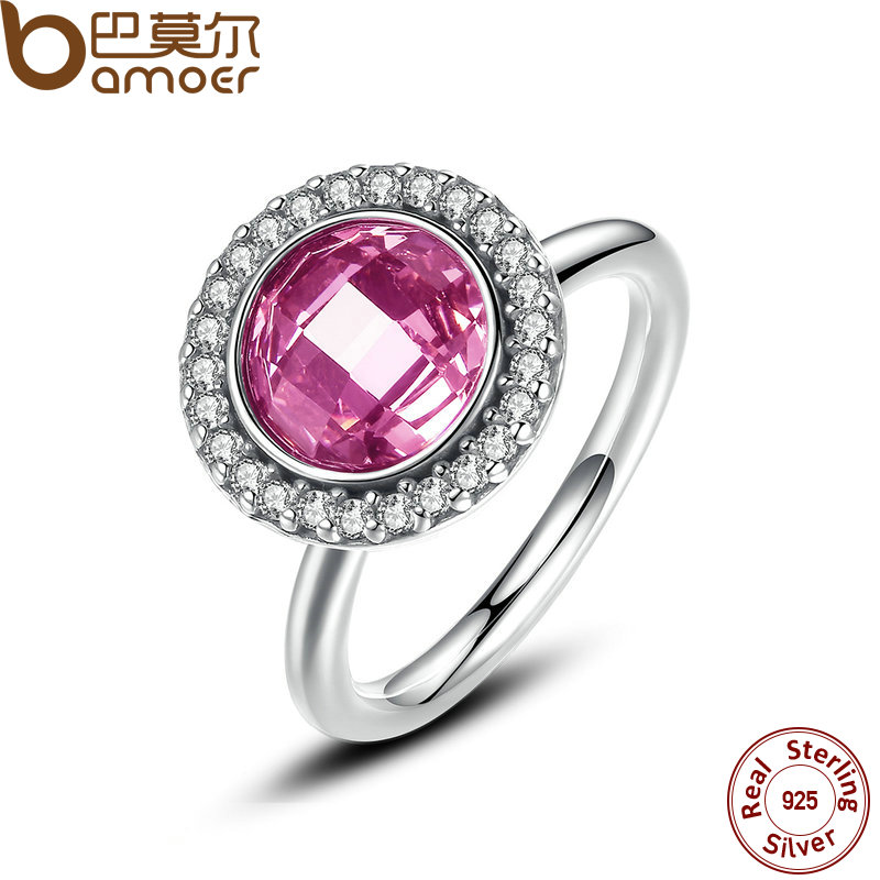 BAMOER Brand 2016 New Collection 925-Sterling-Silver Brilliant Legacy Stackable Ring Pink & Clear CZ Ring Jewelry PA7150(China (Mainland))