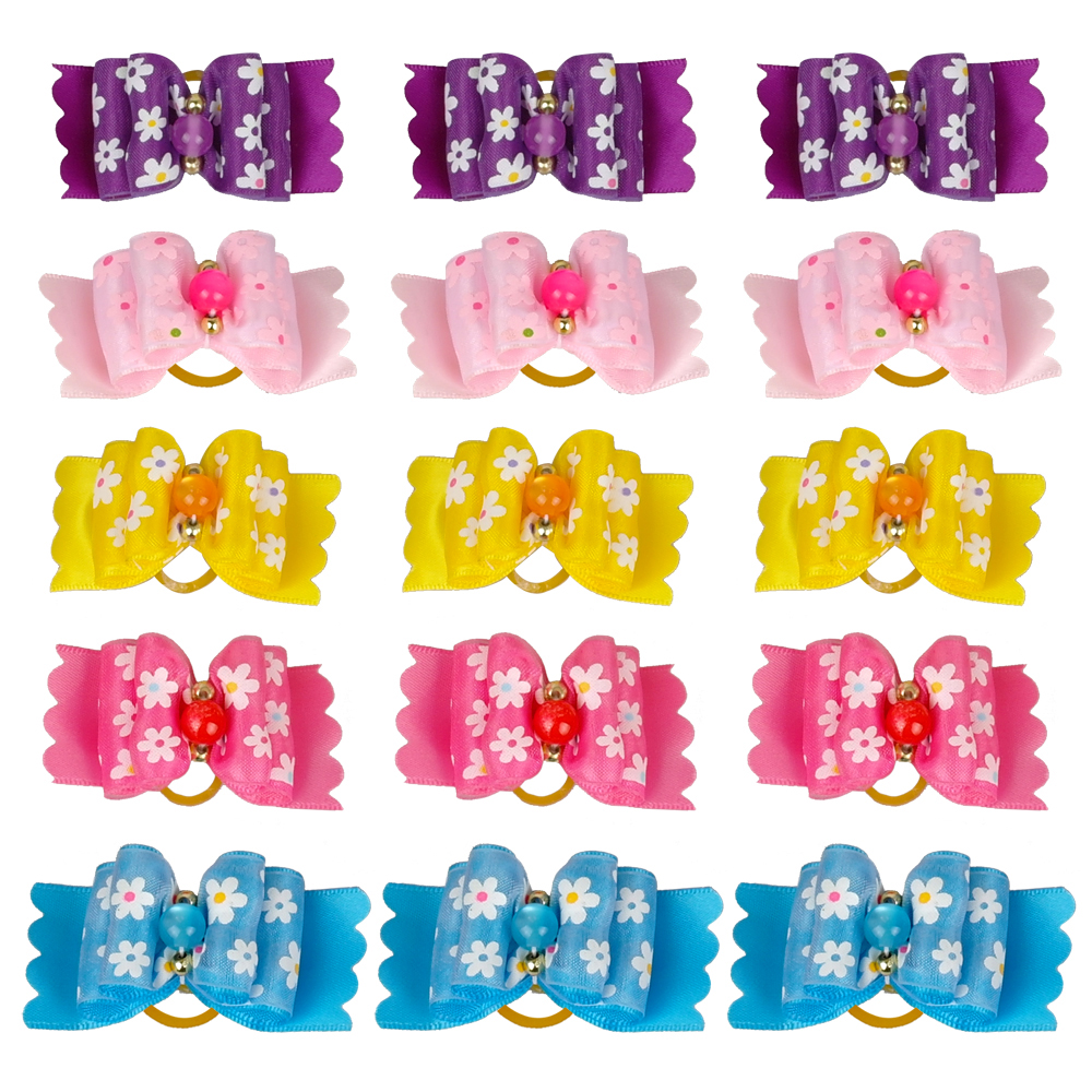 50pcs Pet Dog Puppy Hair Bows Flower Print  Pet Grooming  Accessories