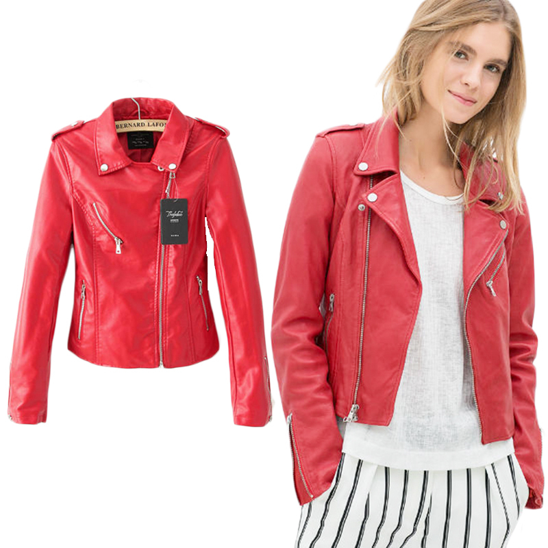 Red Leather Jacket Women 2015 Short Faux Bomber Motorcycle Leather Jackets And Coats New Fashion Winter Jacket Outwear WJA03(China (Mainland))