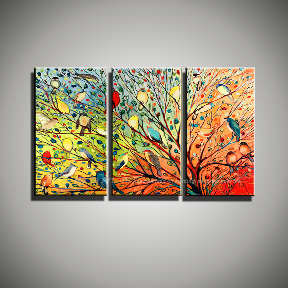 Buy abstract modern 3 panel canvas wall art birds funny for Buy canvas wall art