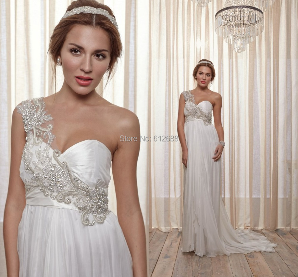 Fashion Scalloped One Shoulder Crystal Beading Sexy Floor Length Sweep Train Chiffon Bridal A-line Wedding Dress 2015(China (Mainland))