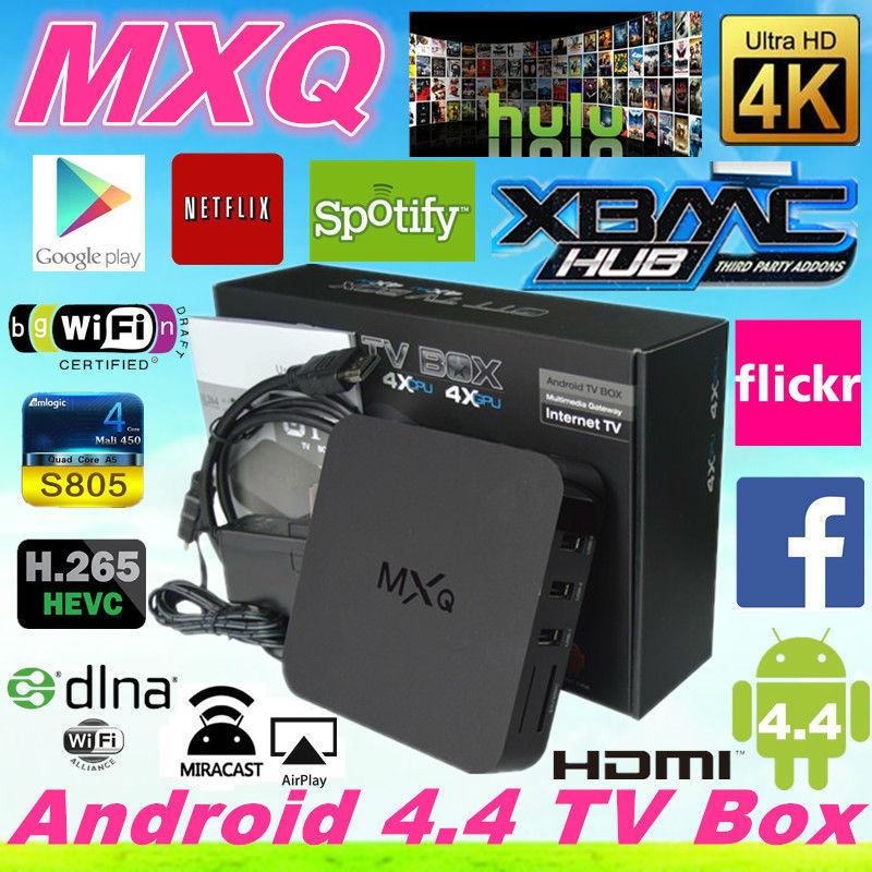 MXQ Android TV Box Amlogic S805 Quad Core 1G 8G HDMI USB smart mini PC H.265/HEVC 1080P XBMC Media Player wifi Miracast Airplay(China (Mainland))