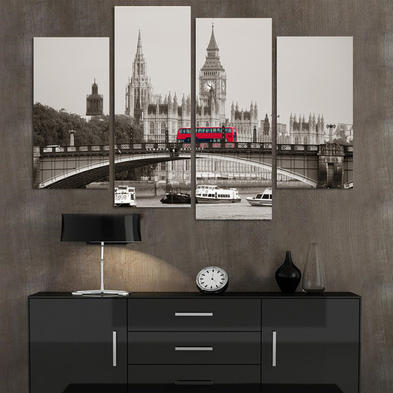 No Frame Retro Style 4 Piece London Red Bus Canvas Print Canvas Painting Home Decor Wall Art Picture for Living Room(China (Mainland))