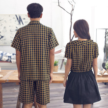 Male and female song Riel quality cotton nightdress pajamas couple cute plaid suit tracksuit style dance