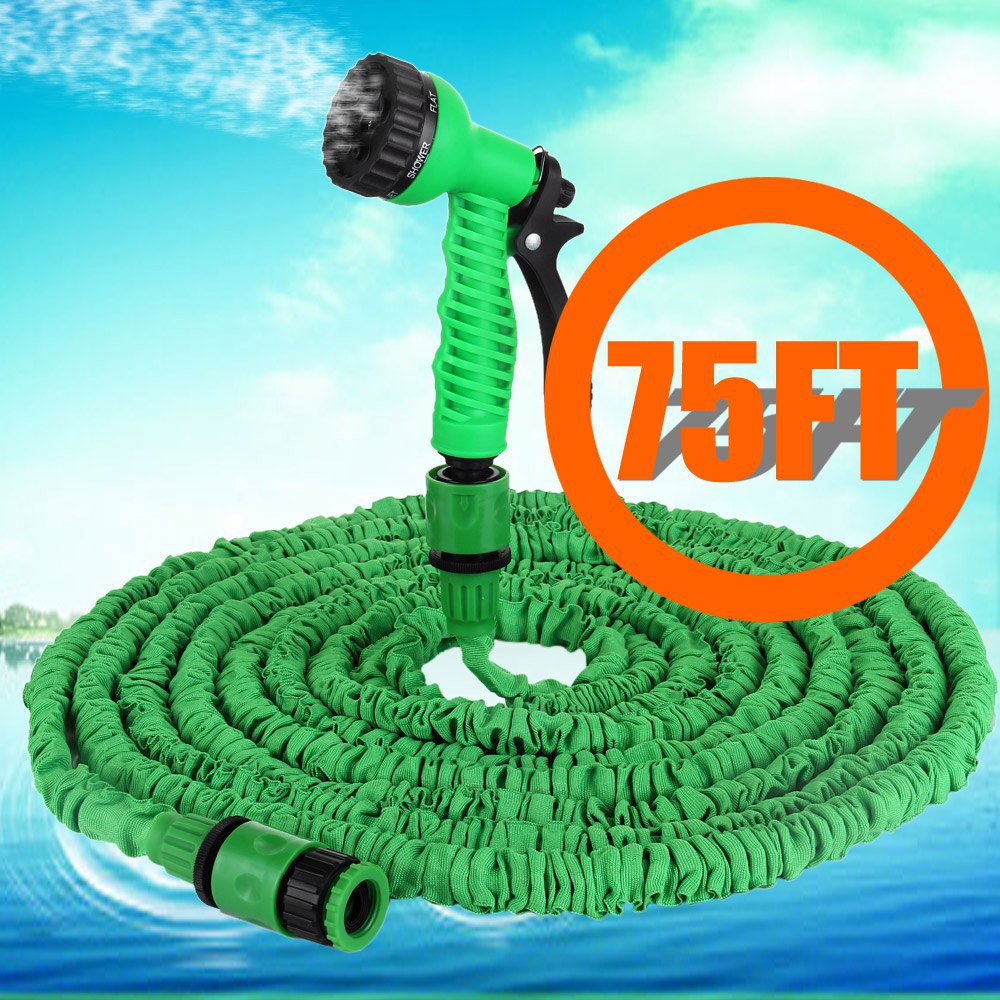 Free shipping 75ft Expandable Magic Garden Hose Watering Wash Car Pipe Water Retractable with Spray Gun Drip Irrigation Green(China (Mainland))
