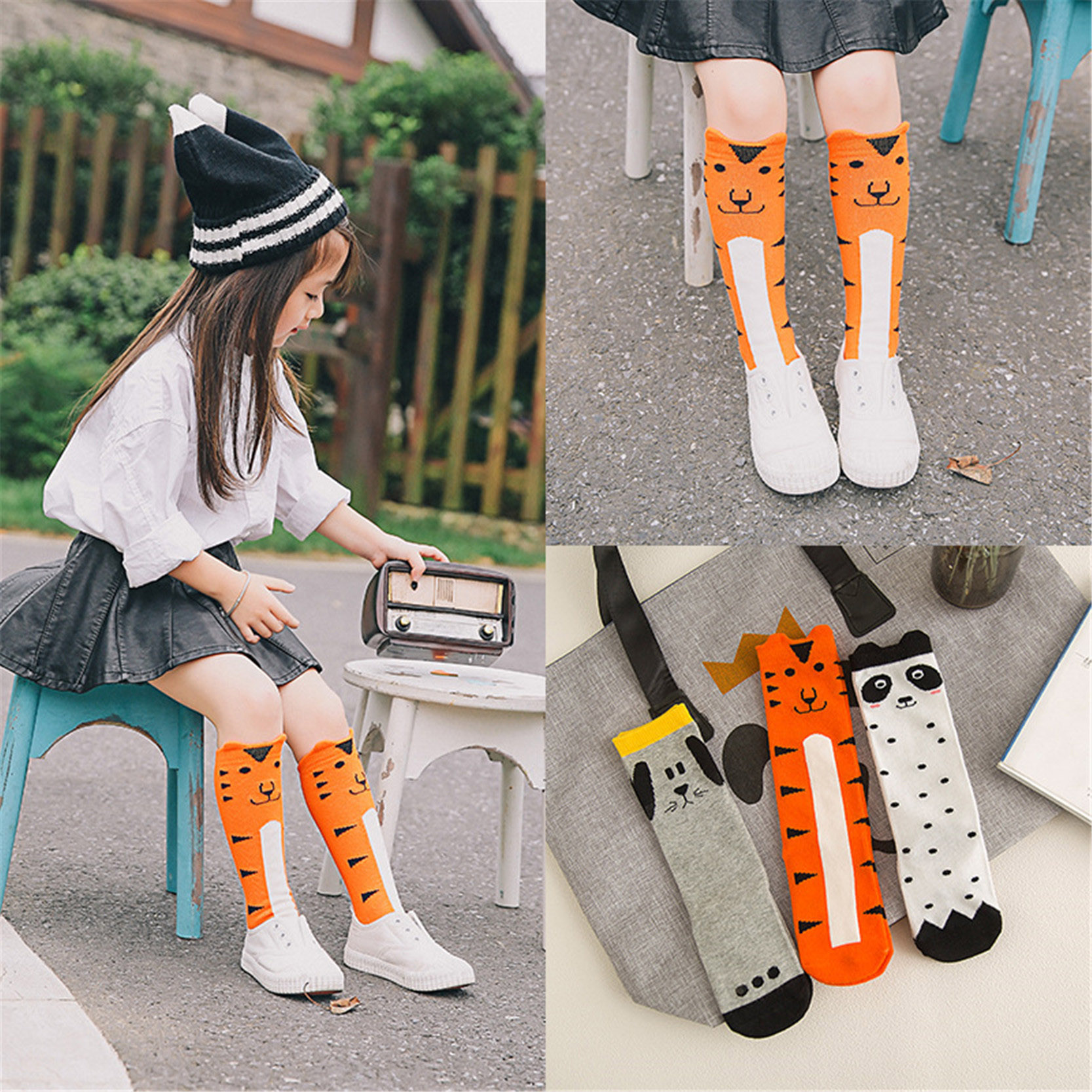 Cartoon Animal Print Children Baby Boy Girl Knee High