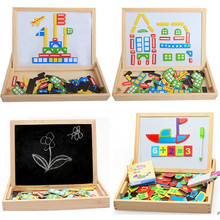 Kids Toy Multifunctional Magnetic Puzzle Writing Board Drawing Double Easel Toys Wooden Toys For Children(China (Mainland))