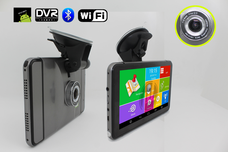 7 inch Android GPS CPU MTK8127 DDR512 with Bluetooth Wifi FM and 150 degree DVR camera(China (Mainland))