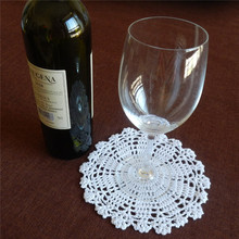 "16cm(6.2"") White 20Pcs/lot Free shipping 100% Cotton Lace Hand Made Crochet Doilies Cup Mat Natural Color Round  Doily(China (Mainland))"