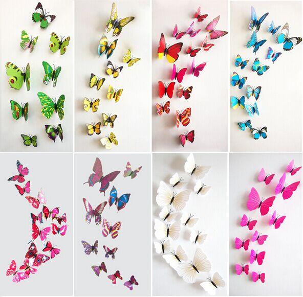 Comprar 12 unids lote pvc 3d mariposa for Pegatinas 3d pared