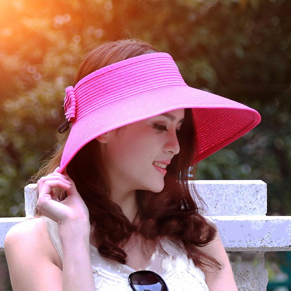 Summer 2015 New Fashion Bowknot Sun Visor Hat Women Large Brimmed Hat Ladies Straw Hats Folding Sun Cap(China (Mainland))