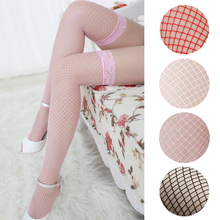 2016 Sexy Lingerie Women Black Sheer Lace Fishnet Top Stay Up Thigh High Stockings Pantyhose Female Stockings