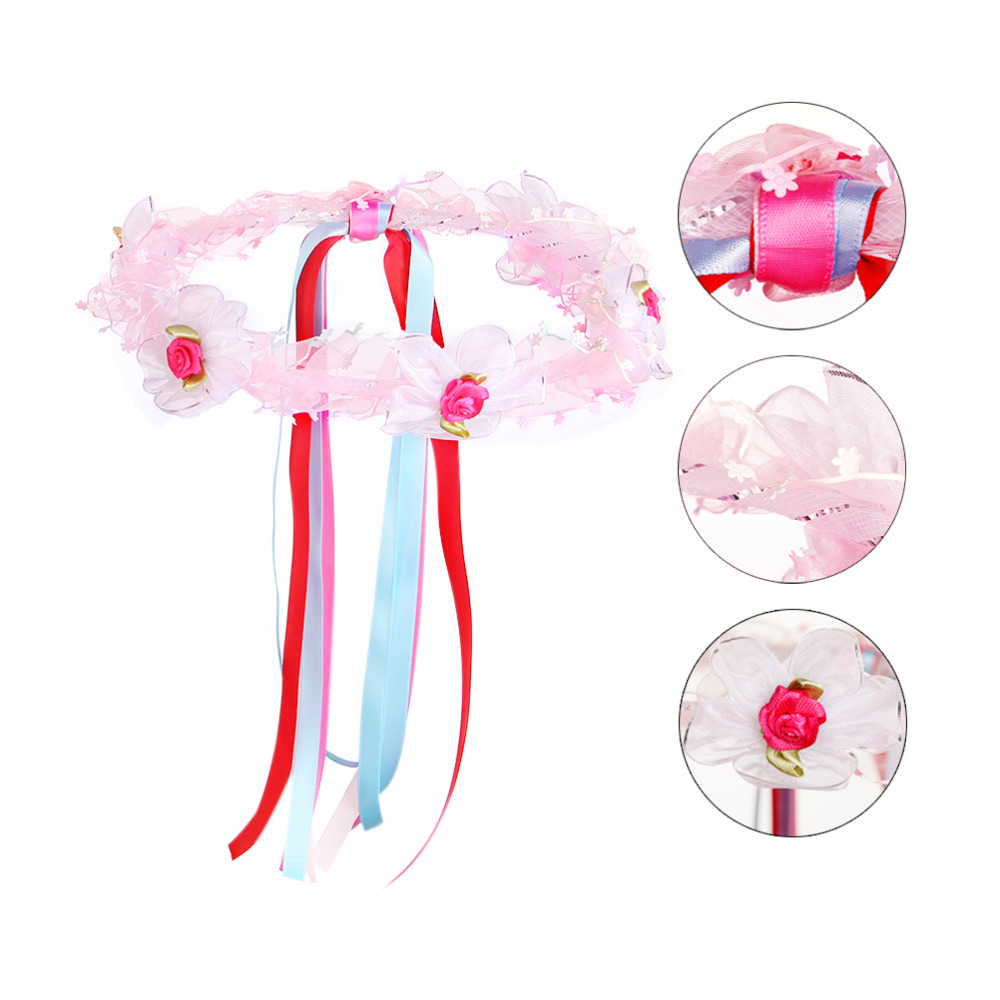 2015 flower girl head wreath flower hair garland halo with colorful woven ribbons for girls head bands floral headband hot(China (Mainland))