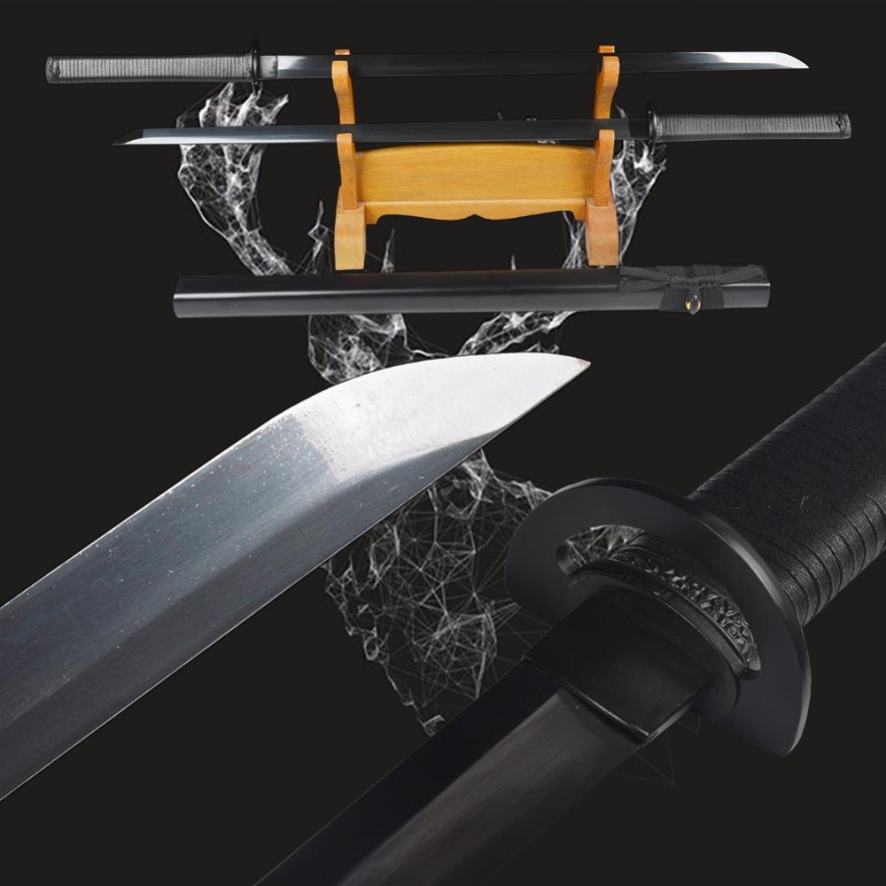 New Practical Genuine Japanese Samurai Ninja Swords High Carbon Steel Straight Blade Full Black Handmade Sharp Double Knives(China (Mainland))