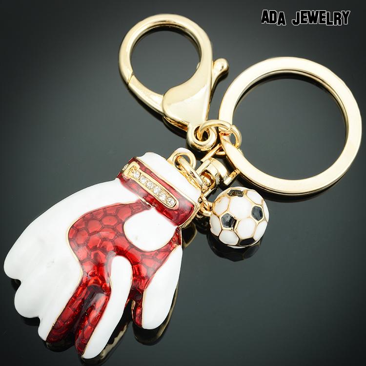 New arrival Creative Cute Gloves Key Chain Jewelry Fashion Bag Handbag Charm Pendant Football Keyring Key Holder For Men Gift(China (Mainland))